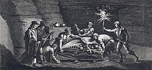 "Reptile - An ""antediluvian monster"", a Mosasaurus discovered in a Maastricht limestone quarry, 1770 (contemporary engraving)"