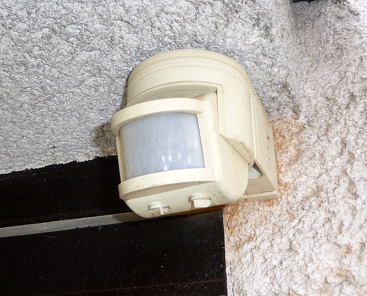 Use time and motion sensors to control lights - Use less electricity - Image courtesy of https://upload.wikimedia.org/wikipedia/commons/thumb/6/64/Motion_detectors%2C_Fry%C5%A1t%C3%A1k_%281%29.jpg/745px-Motion_detectors%2C_Fry%C5%A1t%C3%A1k_%281%29.jpg