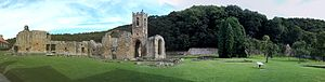Mount Grace Priory - Panorama of Mount Grace Priory remains, from the south west