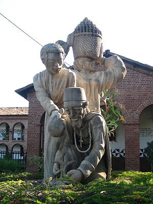 Sculpture in front of Mua Mission church