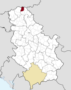 Location of Kanjiža within Serbia