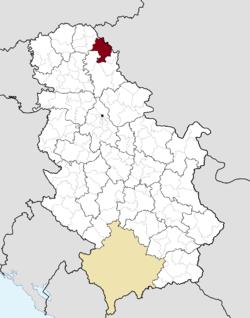 Расположение города Кикинда (красный) в Сербии