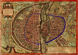 Wall of Philip II Augustus - Map of Sebastian Münster (1572). In blue, the walls of Philip Augustus, dubbed on the Right Bank by the wall of Charles V