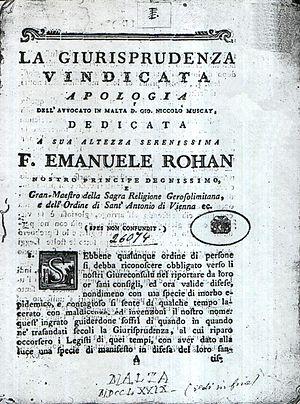 John Nicholas Muscat - Muscat's La Giurisprudenza Vindicata (1779)
