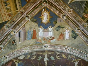 "Resurrection of Jesus in Christian art - Fresco by Andrea da Firenze, Santa Maria Novella, Florence, 1366, perhaps the earliest ""hovering"" Christ"