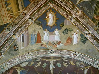 "Resurrection of Jesus in Christian art - Fresco by Andrea da Firenze, Santa Maria Novella, Florence, 1366, perhaps the earliest ""hovering"" Christ"