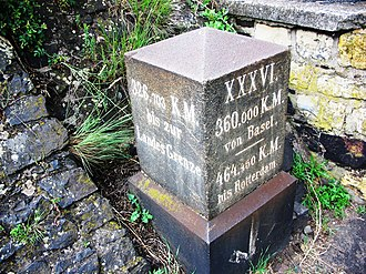 Unit prefix - Distance marker on the Rhine: 36 (XXXVI) myriametres from Basel