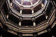 N-GJ-120 Adalaj- Step-Well-View-From-Bottom-of-the-well-amidst-rain.jpg
