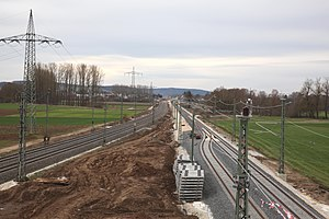 Nuremberg–Erfurt high-speed railway - New line north of Ebensfeld, with a construction track leading towards Bamberg (2016)