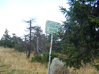 Normalhöhennull - NHN height sign in the Harz mountains of Germany on the Brocken road