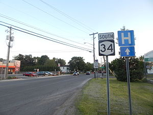 New York State Route 34 - NY 34 southbound entering Weedsport