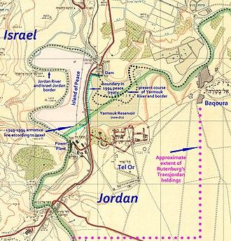 Naharayim - Nahariyim/Baqoura region in 1953 and now