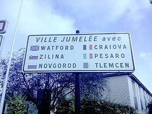 Nanterre - Nanterre's twin towns sign.