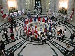 National Flag of Canada Day, Manitoba Legislature, February 2015.JPG