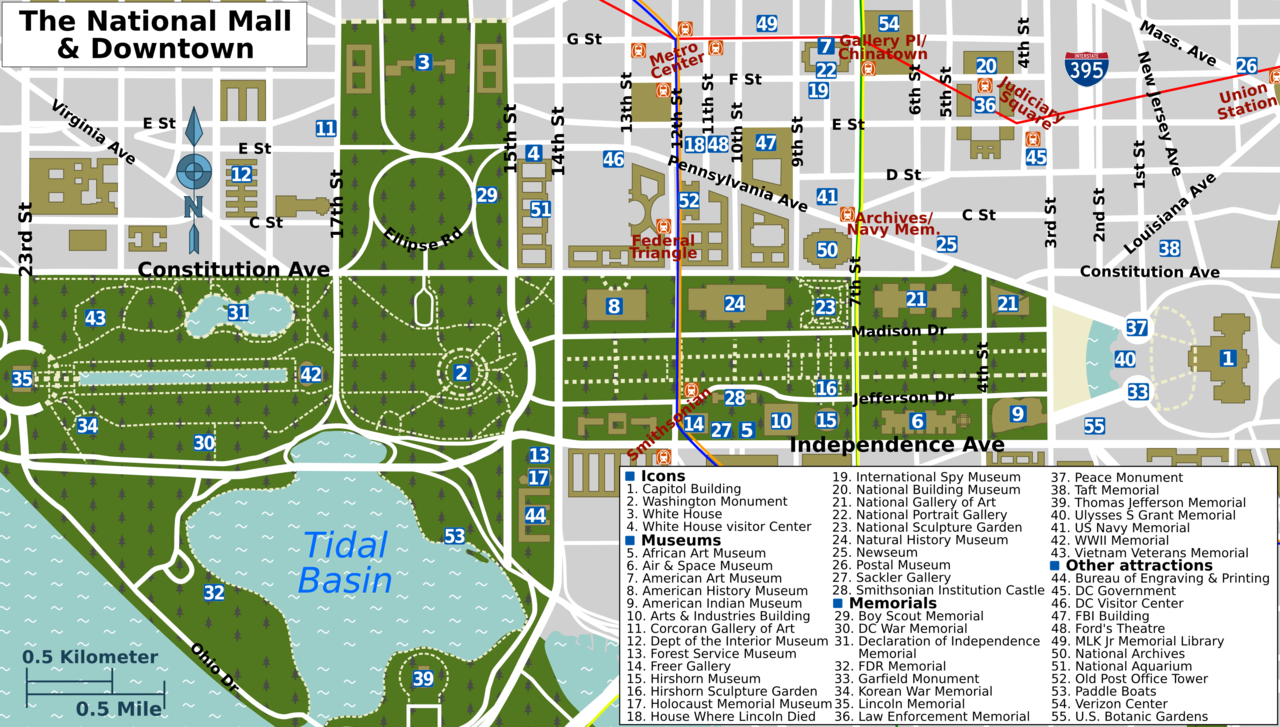 File National Mall Map Png Wikimedia Commons