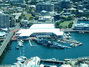 Australian National Maritime Museum - Aerial photograph of the Australian National Maritime Museum, as seen from Sydney Tower