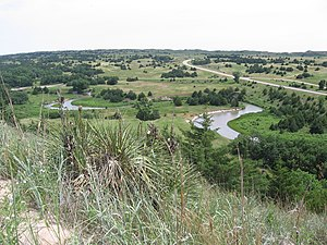 U.S. Route 83 - A view of the Dismal River, Nebraska Sandhills, and U.S. Route 83 in Thomas County, Nebraska.