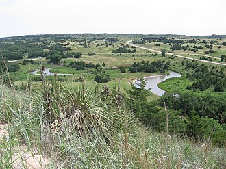 Sandhills (Nebraska) - A view of the Dismal River, Sandhills, and U.S. Route 83 in Thomas County.