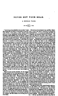 Never Bet the Devil Your Head short story by Edgar Allan Poe