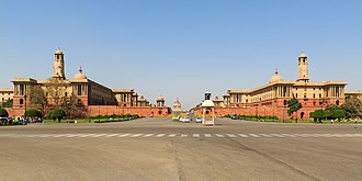 Government of India - The Rashtrapati Bhawan complex, with North and South Block housing the Prime Minister's Office, Cabinet Secretariat, Ministry of Defence, and others.