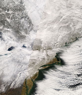 February 2007 North American blizzard - A NASA satellite image of the New England region coated in snow after the storm