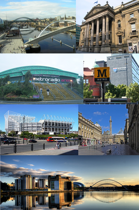 Clockwise from top-left: Newcastle Quayside and River Tyne, Theatre Royal, Newcastle University behind Haymarket Station's Metro sign, Georgian architecture around Grey's Monument, the Quayside from Gateshead, St James' Park stadium, MetroRadio Arena