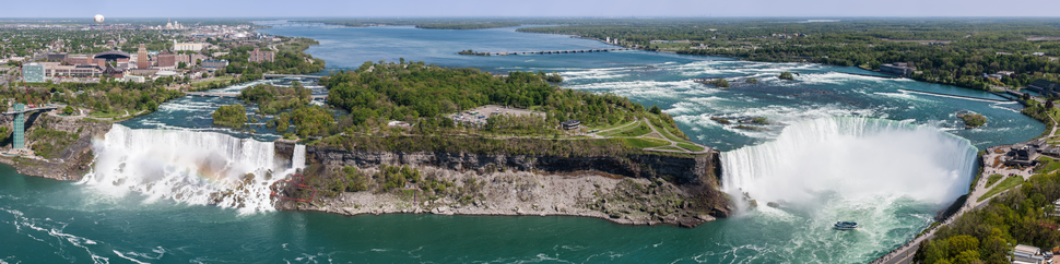 The American, Bridal Veil, and Horseshoe Falls as seen from the Skylon Tower in May 2002