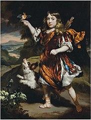 Portrait of a boy as Daifilo in an orange cloak, with a bird