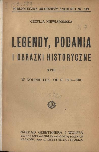 File:Niewiadomska Cecylia - Legendy, podania i obrazki historyczne 18 - W dolinie łez. Od r. 1863-1901.djvu