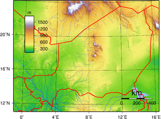 Outline of Niger - An enlargeable topographic map of Niger