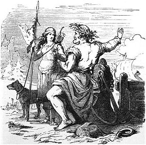 Nóatún (mythology) - Njörðr and Skaði on the way to Nóatún (1882) by Friedrich Wilhelm Heine