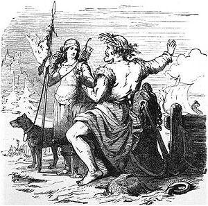Njörðr - Njörðr and Skaði on the way to Nóatún (1882) by Friedrich Wilhelm Heine