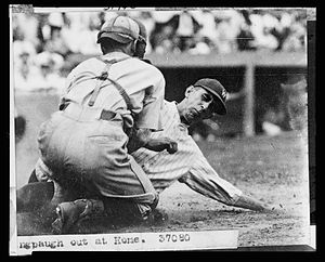 Roger Peckinpaugh - Peckinpaugh tagged out at home in the mid-1920s