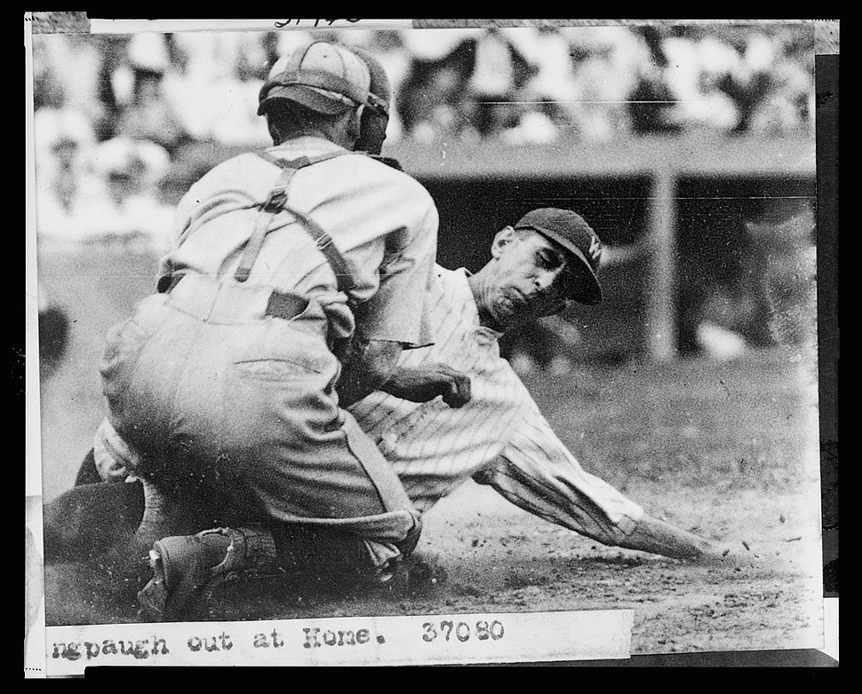 No Known Restrictions Baseball Peckingpaugh Out at Home, 1924 or 1925 (LOC) (416096774)