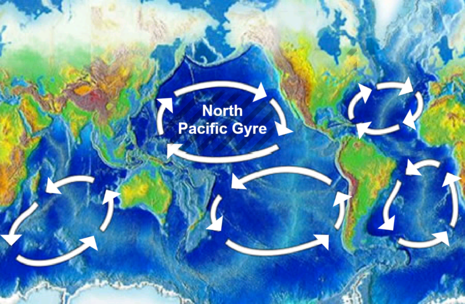 The area of increased plastic particles is located within the North Pacific Gyre, one of the five major ocean gyres. North Pacific Gyre World Map.png