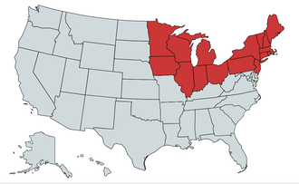 Northern United States - The states shown in red are included in the general term Northern United States. The ones shown in the black-dotted orange can arguably be part of the North despite not being universally accepted.