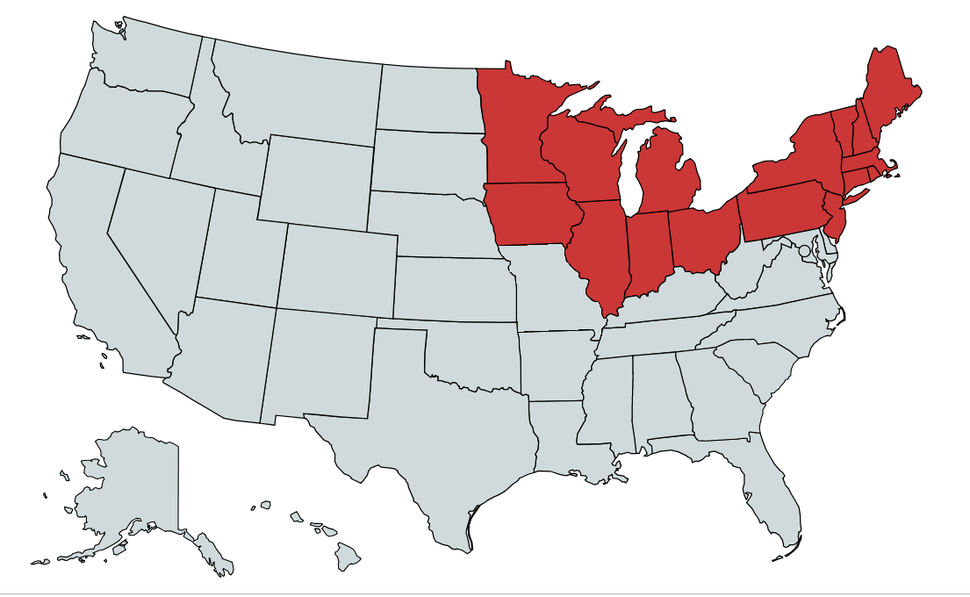 The states shown in red are included in the general term Northern United States. The ones shown in the black-dotted orange can arguably be part of the North despite not being universally accepted.