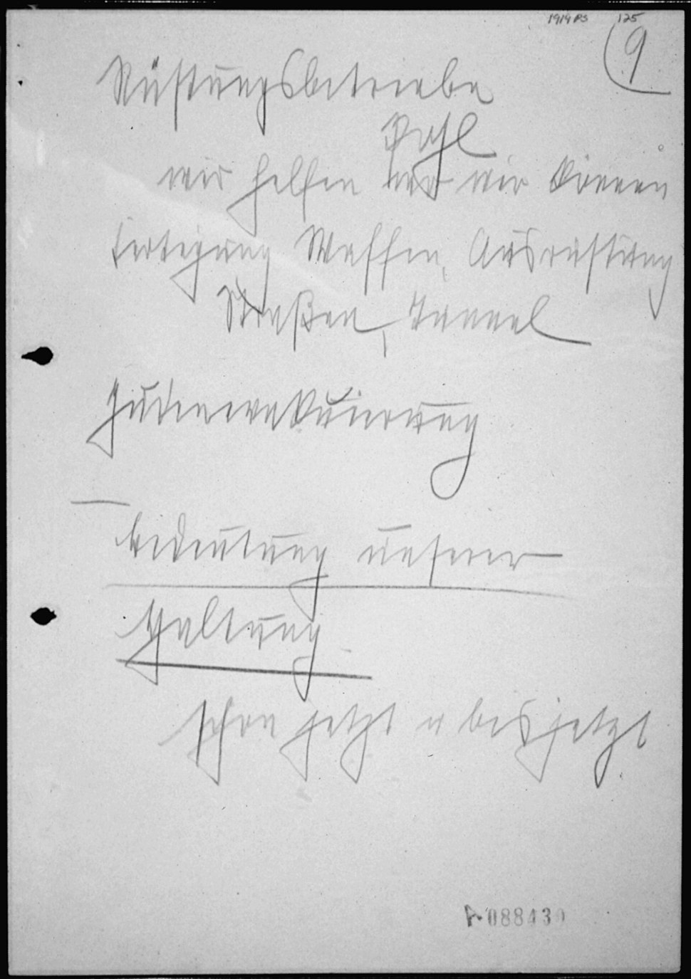 Notes of Heinrich Himmler, Chief of Nazi Guard (SS), for a Speech to SS Generals - NARA - 305265