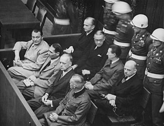 Nuremberg trials - Defendants in the dock at the Nuremberg trials. The main target of the prosecution was Hermann Göring (at the left edge on the first row of benches), considered to be the most important surviving official in the Third Reich after Hitler's death.