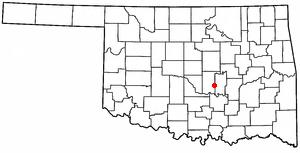 Maud, Oklahoma - Image: OK Map doton Maud