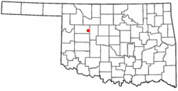 Location of Oakwood, Oklahoma