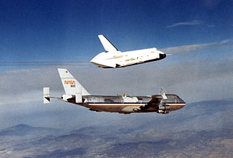 Drop test - Enterprise being released by Shuttle Carrier Aircraft