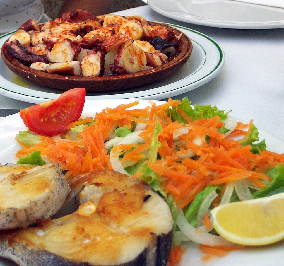 Octopus and fish lunch. A Coruña, Galicia