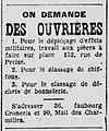 Offre d'emploi ouvrières de classage de chiffons et déchets de bonneterie - 1922.jpg