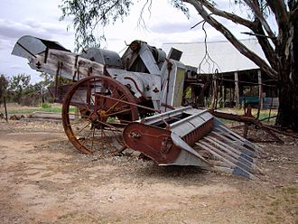 "Combine harvester - A ""Sunshine"" harvester in the Henty, Australia, region"