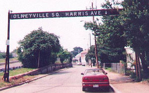 Rhode Island Route 10 - An original (still standing) overhead sign on Harris Avenue at the east end of the Olneyville Bypass