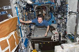 Oleg Kononenko - Oleg Kononenko floats through the ''Destiny Laboratory'' of the Space Station.