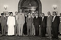 Omar Elwary the Mayor of Jerusalem visiting King Hussein of Jordan along with the Municipality staff in 1955..jpg