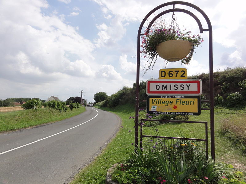 Omissy (Aisne) city limit sign