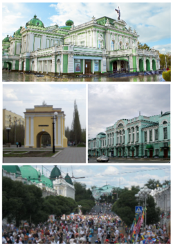 由最上方順時針依序為:鄂木斯克歌劇院、The Vrubel Museum of Fine Arts、Lenina Street on the City Day、Tarskiye Gates